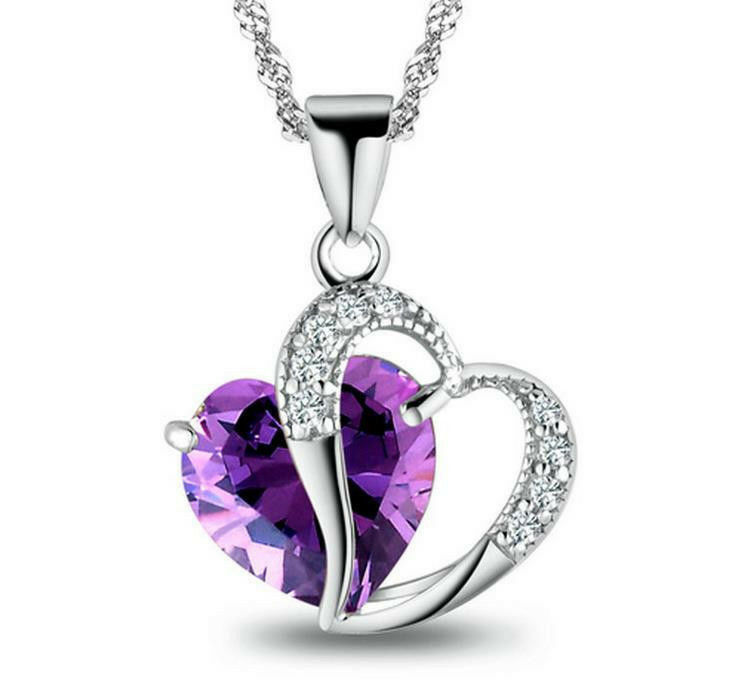 heart with blue shaped gift necklace made neoglory crystal jewelry dp pendant swarovski elements fashion