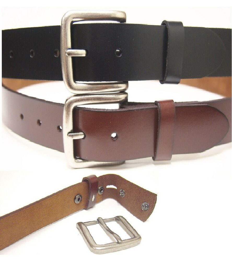 one solid genuine leather belt removable buckle