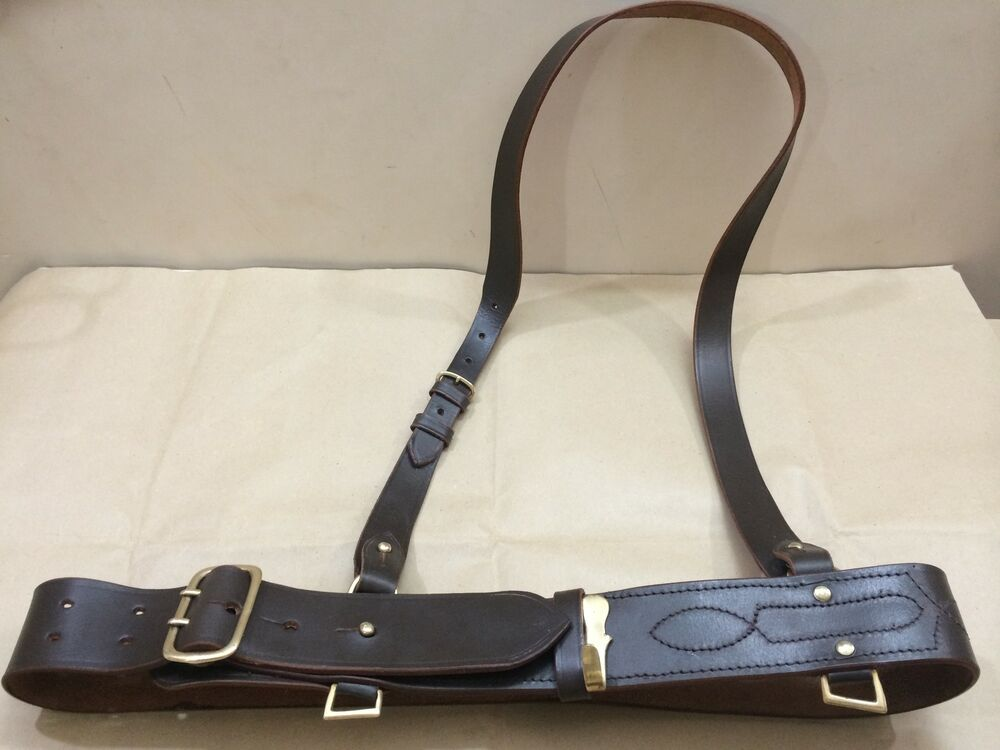 sam browne belt shoulder brown leather ebay