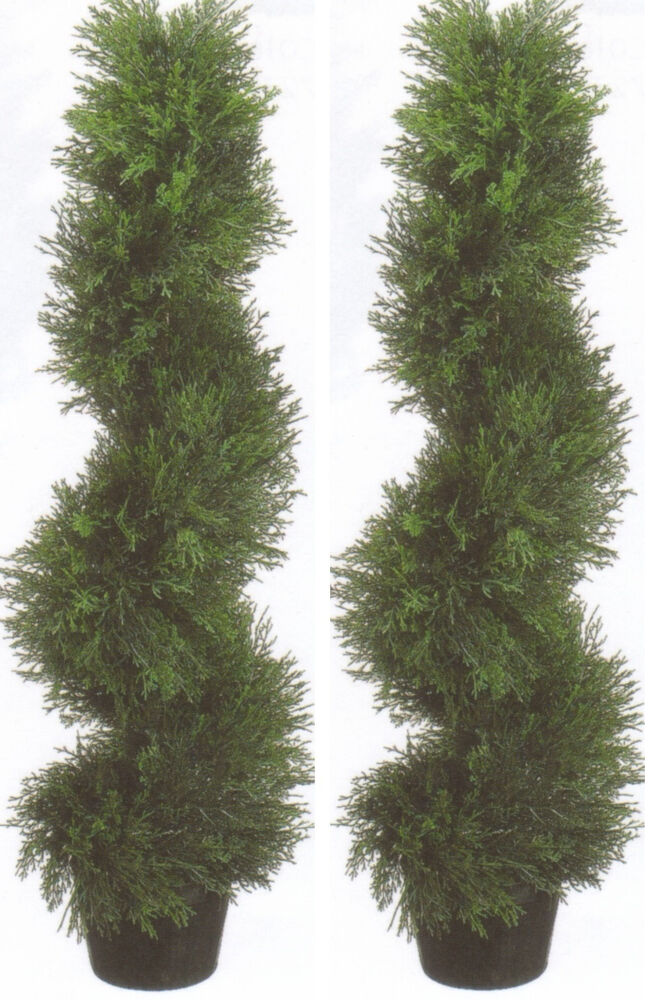 2 topiary 3 39 artificial outdoor tree uv cypress spiral for Garden topiary trees
