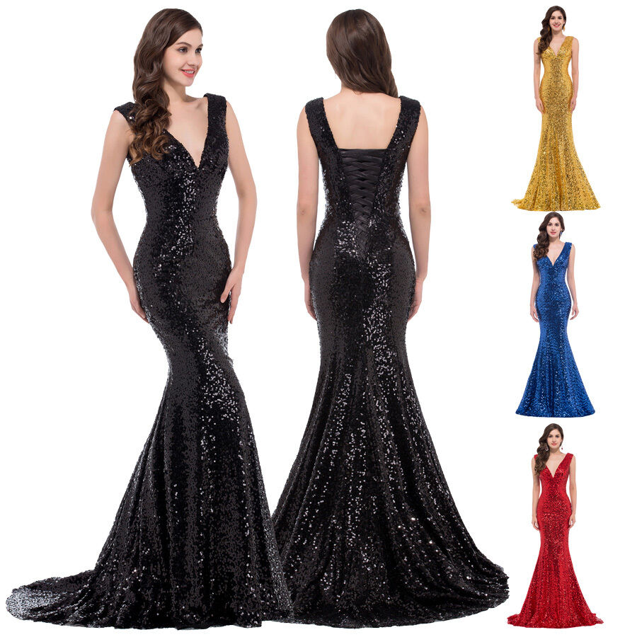 Black red mermaid long sequins bridesmaid gowns prom ball for Ebay used wedding dresses