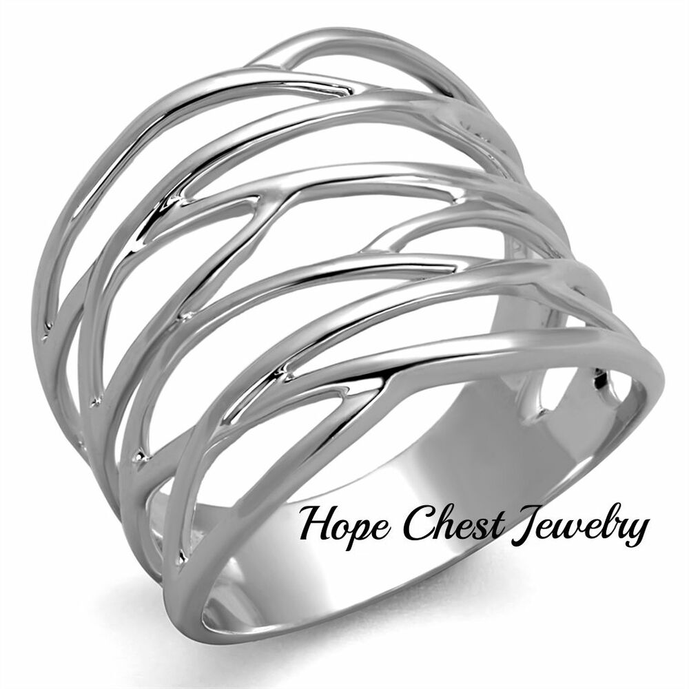 Wave Design Bands: WOMEN'S SILVER TONE WATER WAVE DESIGN WIDE BAND FASHION