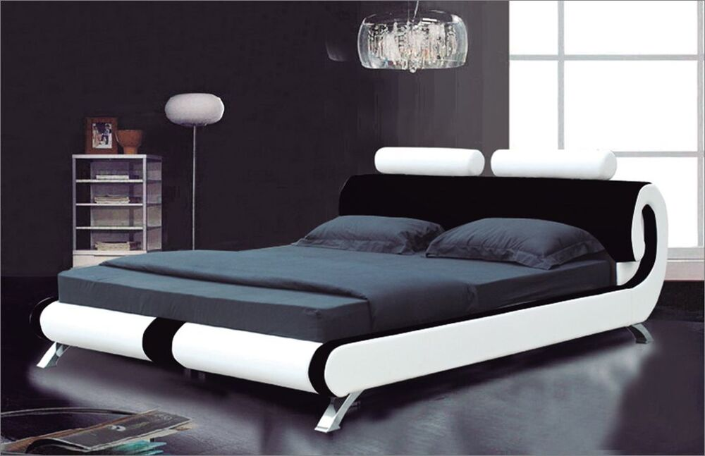 Modern Italian Designer Double King Size Leather Bed 2