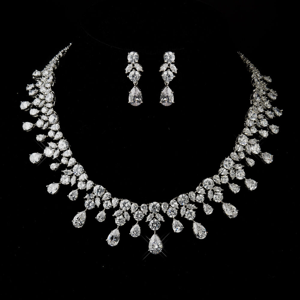 Antique Silver Clear CZ Crystal Necklace & Earrings Prom