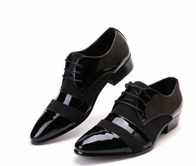 fashion mens dress formal black patent leather pointed toe