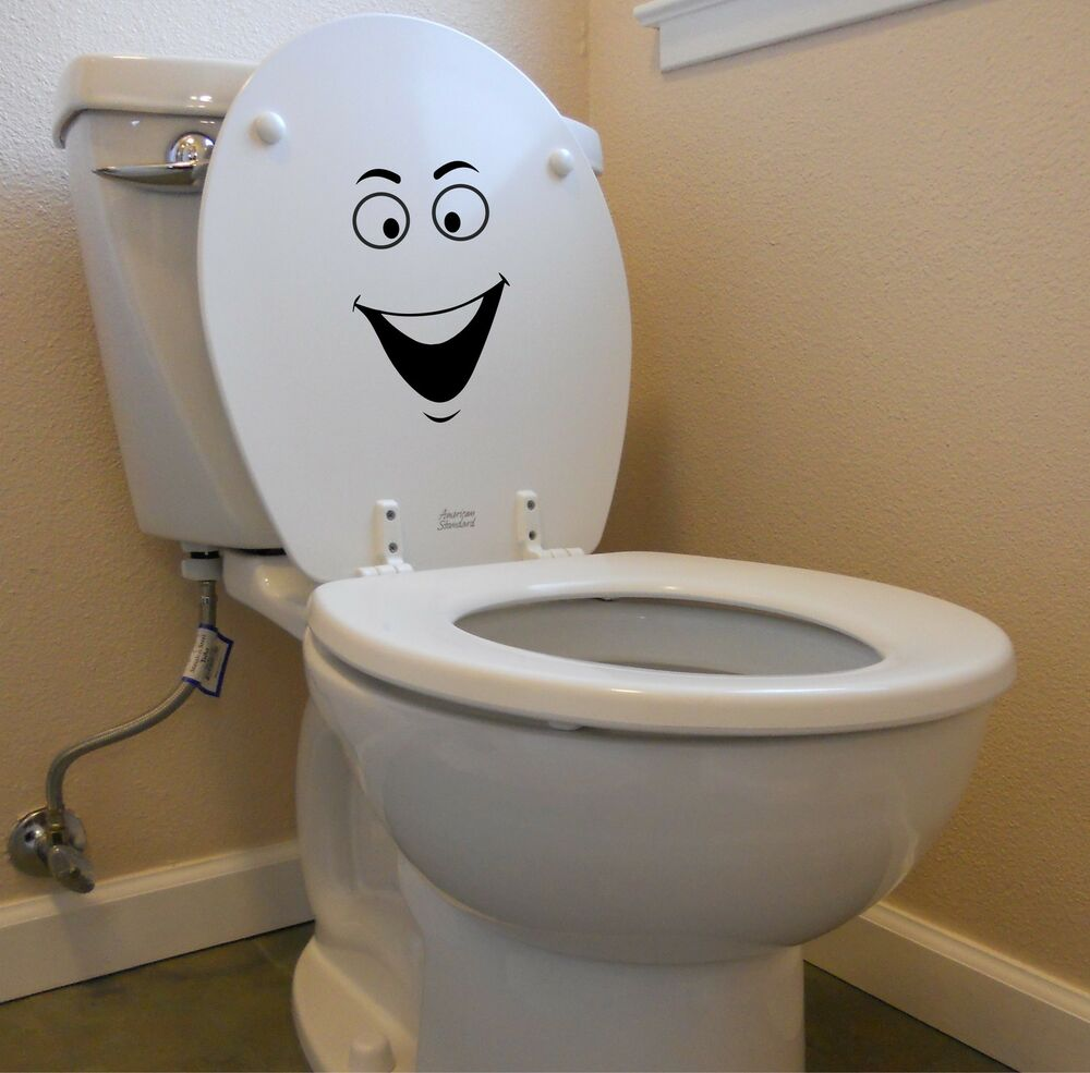Smiley face decal for toilet laptop car funny bathroom ...