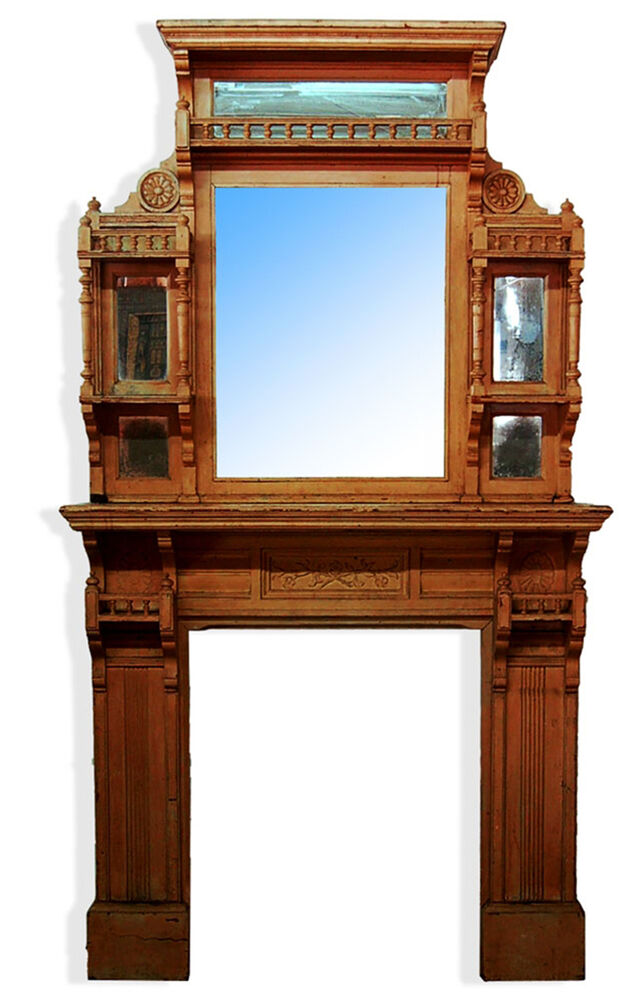 Victorian Fireplace Mantle & Over Mirror c 1875 7265