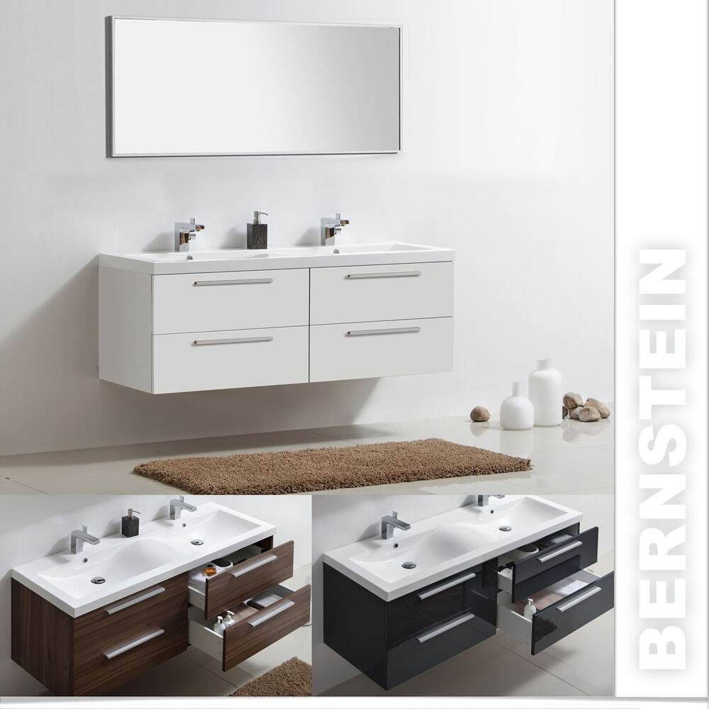 badm bel set doppelwaschbecken badezimmerm bel lackiert spiegel 160cm ebay. Black Bedroom Furniture Sets. Home Design Ideas