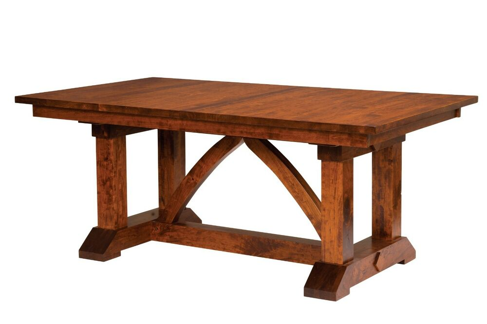 Amish Farmhouse Trestle Dining Table Rectangle Solid Wood Rustic Furniture Ne