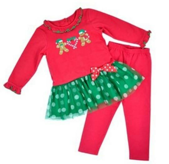 Size 2t 4t gingerbread red christmas tutu dress leggings outfit ebay