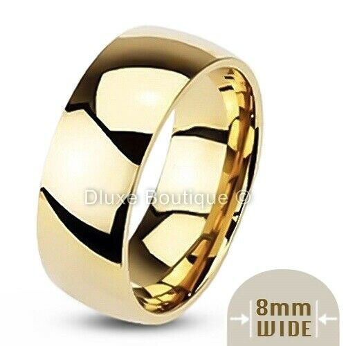 Men S 8mm Wide 14k Gold Plated Classic Comfort Fit Wedding
