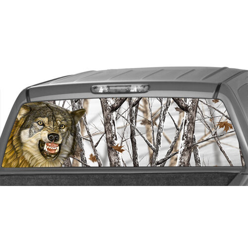 Wolf Camo Winter Forrest Rear Window Graphic Hunt Hunting