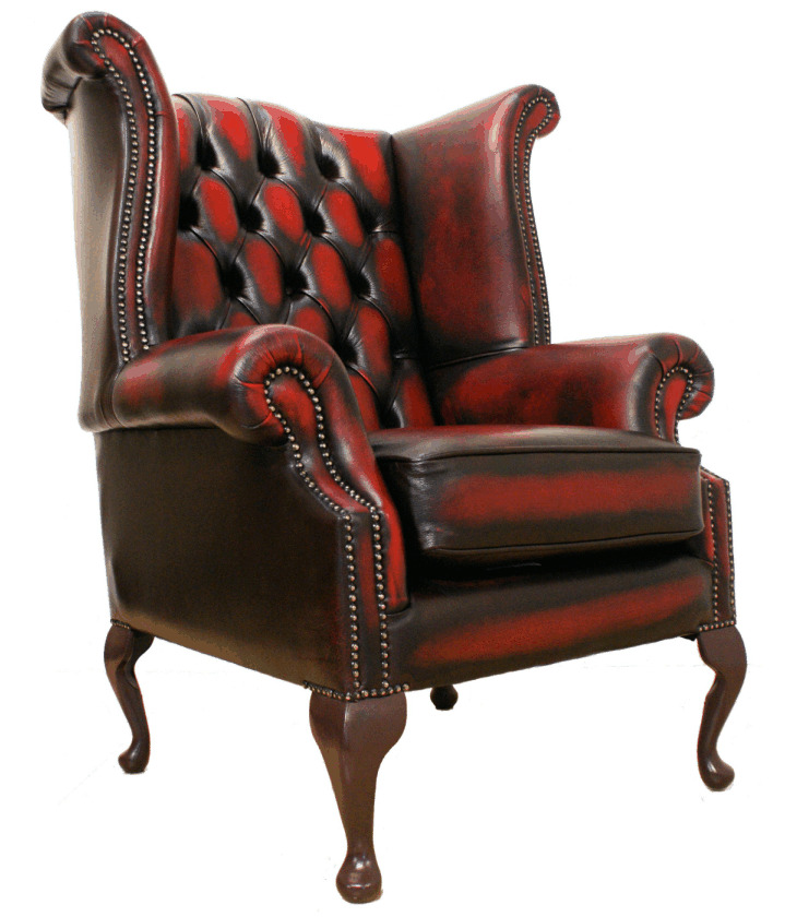 Chesterfield queen anne high back fireside wing chair antique oxblood