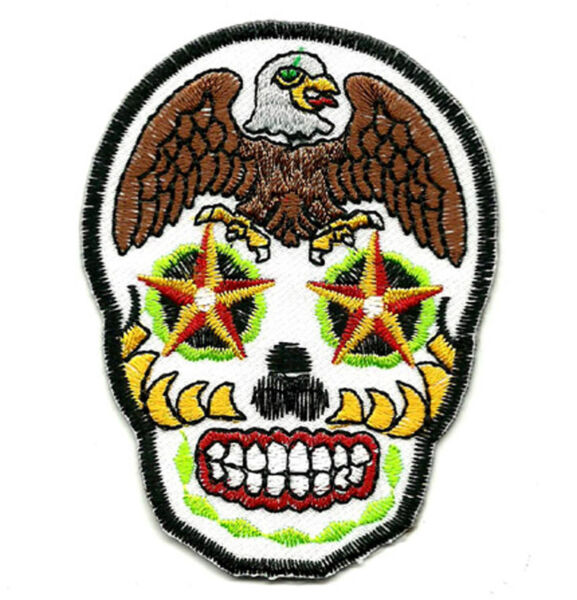 Ecusson Patch Tête de mort Mexicaine CALAVERA Tattoo Tatouage Sugar Dead Skull