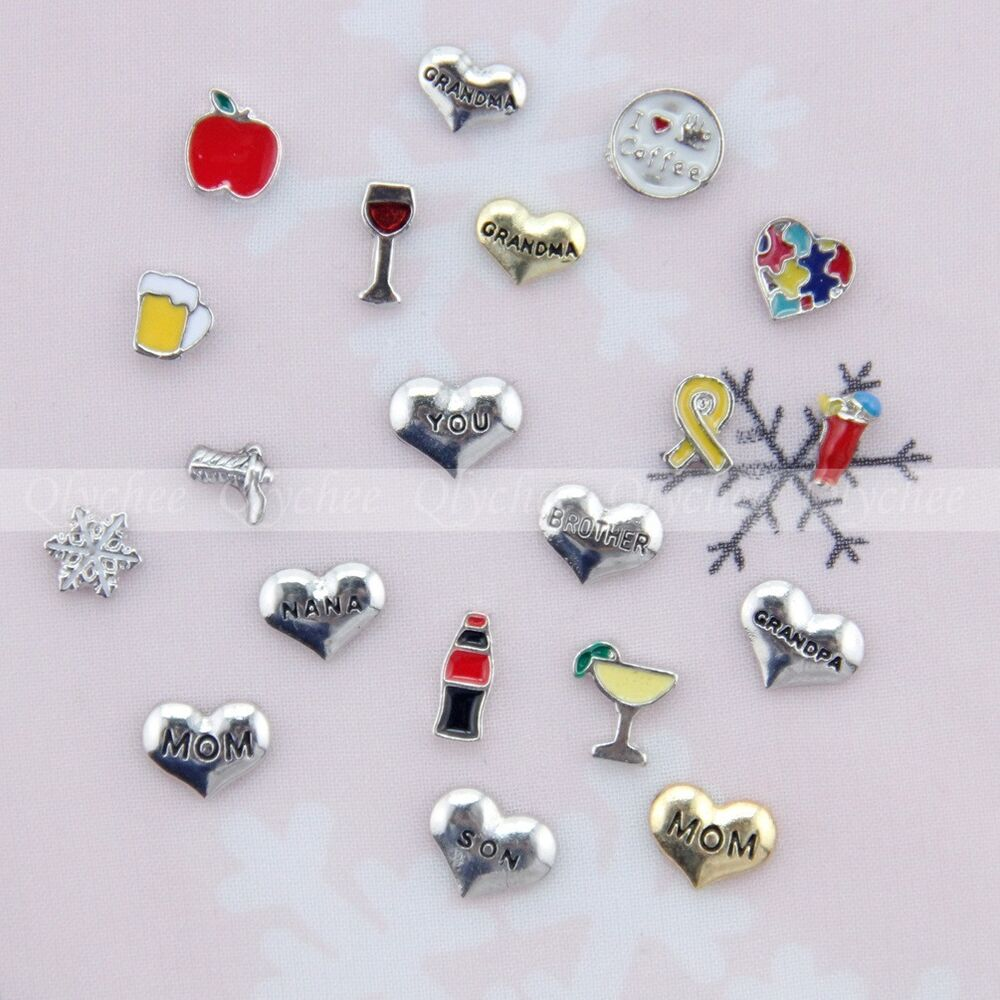 1p new alloy mini floating locket charms for glass living