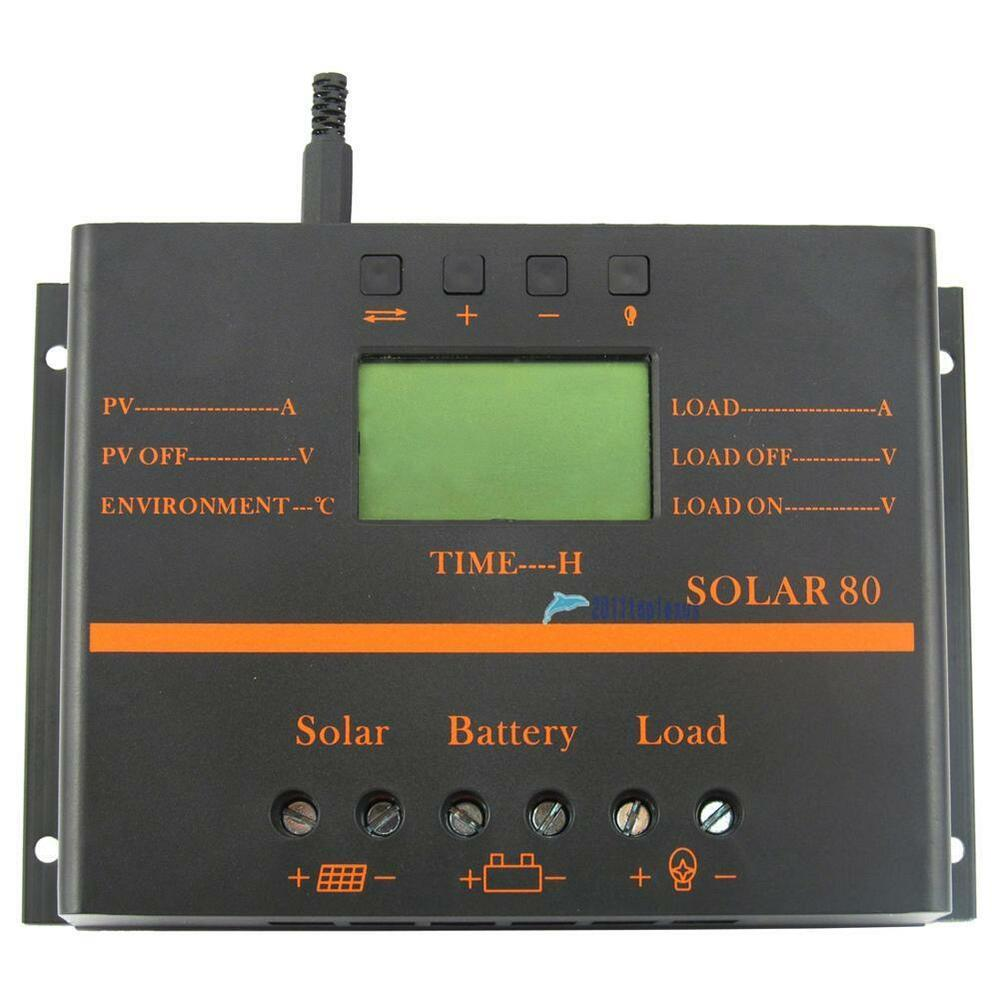 80A LCD PWM Solar Battery Regulator Charge Discharge Controller 12V ...