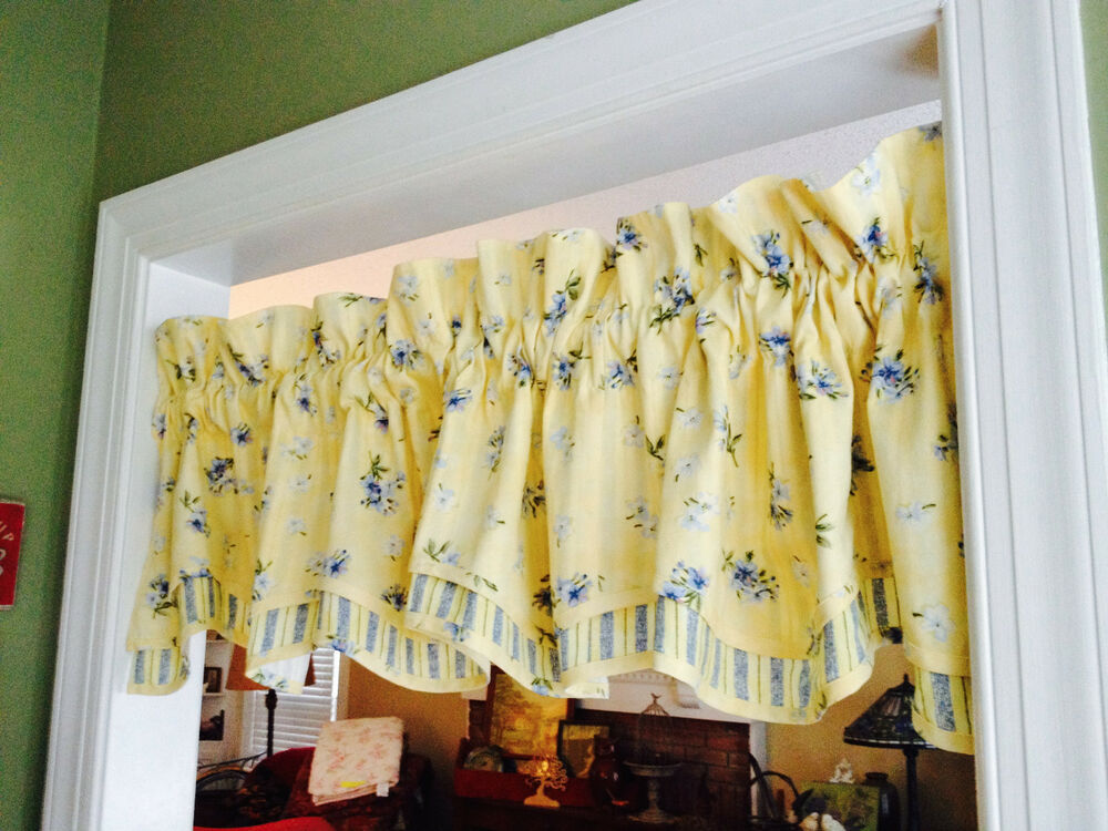 Pair Waverly Valances Floral Amp Stripe 2 Layer Yellow