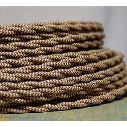 Cloth Covered Twisted Wire - Brown/Tan Pattern, Vintage Style Fabric Lamp Cord