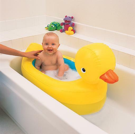 munchkin inflatable baby duck bath suitable for home or. Black Bedroom Furniture Sets. Home Design Ideas