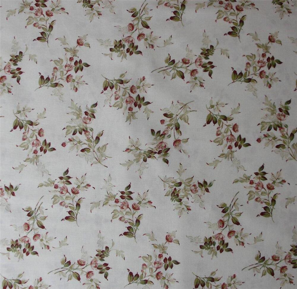 Patchwork quilting fabric cream floral allover cotton for Cotton quilting fabric