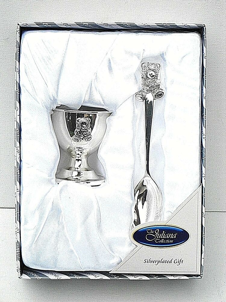 Silver Plated Baby Gifts Australia : Baby birth christening gift silver plated quot teddy egg cup