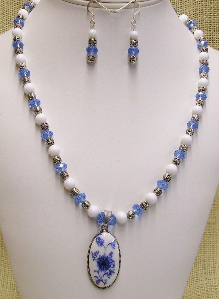 Necklace And Earrings Handmade Ceramic Blue And White
