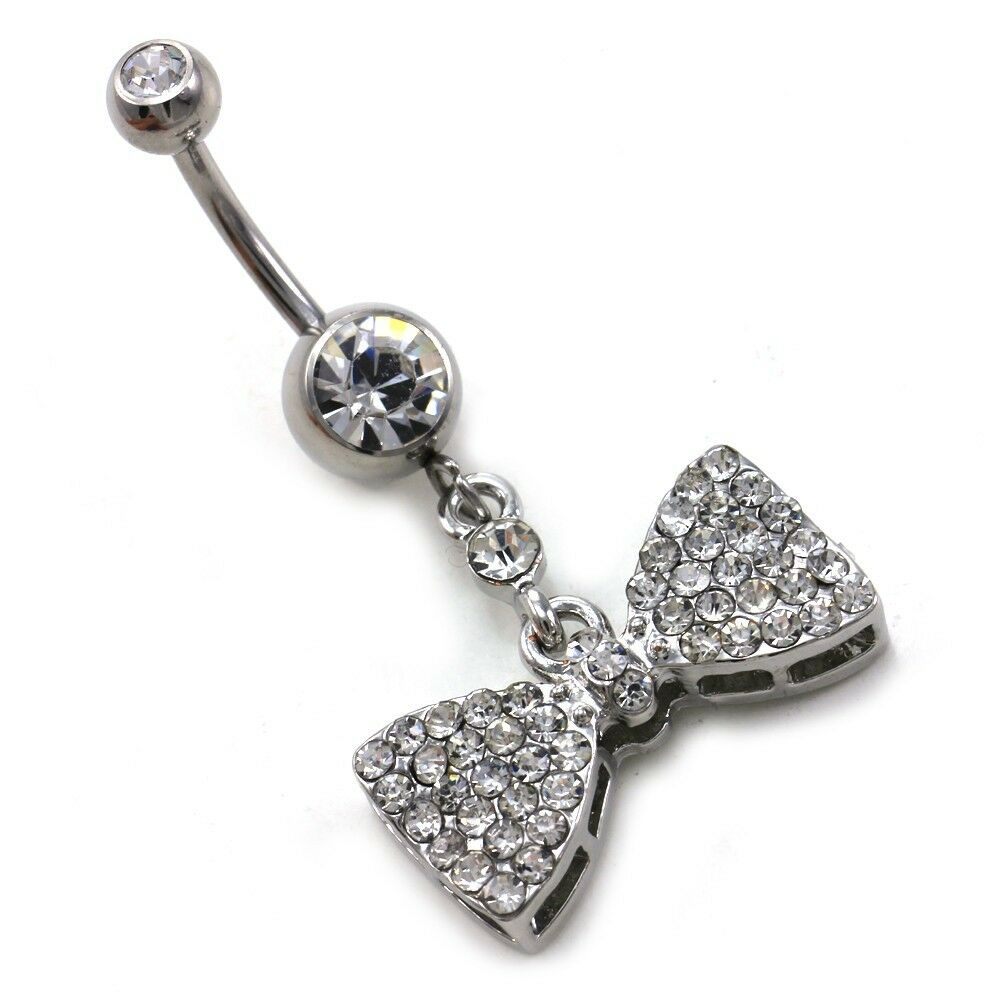 ribbon bow tie bowknot dangle belly button navel ring