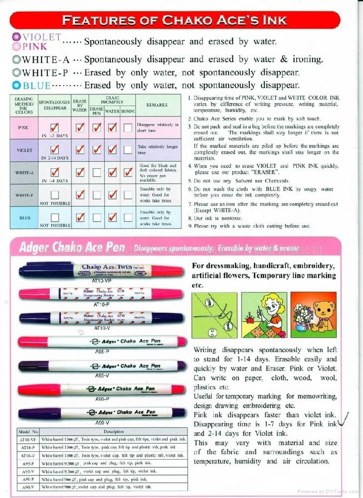 Adger Chako Ace Pen Disappearing Garment FINE Marker A90P ...