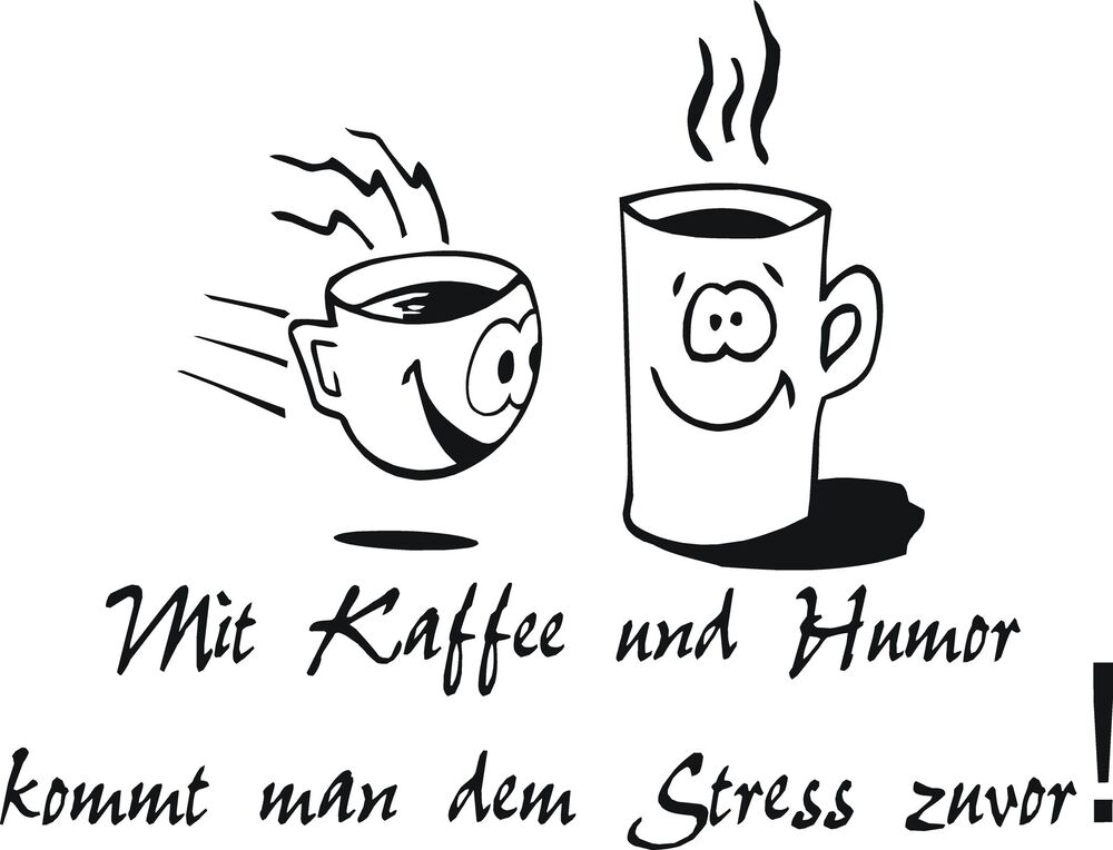 aufkleber wandtattoo k che mit kaffee und humor mit 2 tassen in 3 gr en ebay. Black Bedroom Furniture Sets. Home Design Ideas