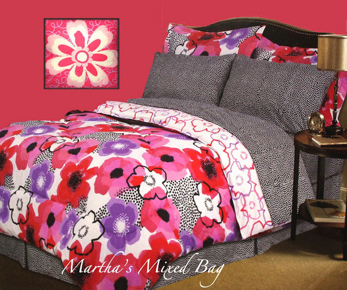girl pink lavender summer poppy floral blossom bed in a bag queen full twin size ebay. Black Bedroom Furniture Sets. Home Design Ideas