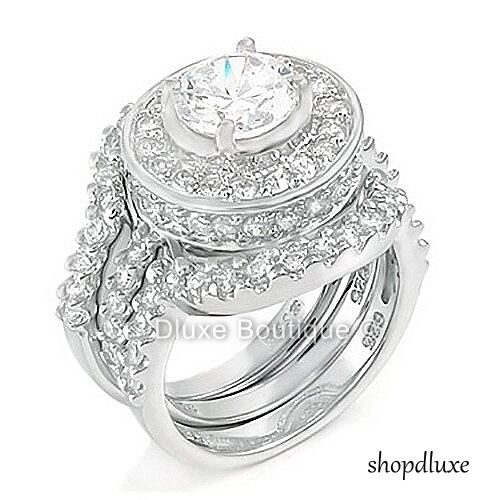 4.95 CT HALO ROUND CUT .925 STERLING SILVER WEDDING RING ...