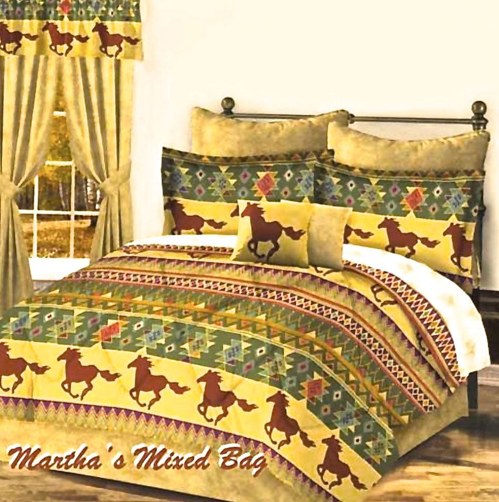 Western pony horse gold brown teal cabin lodge southwest aztec