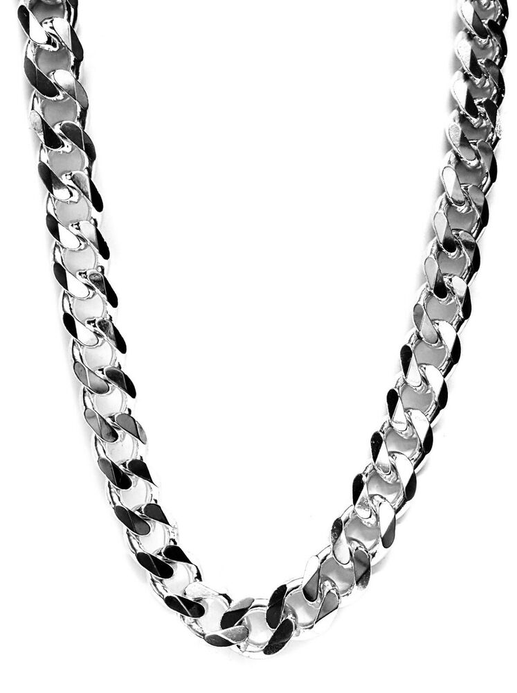 Cuban Style Link Chain In Sterling Silver 13mm Wide Solid