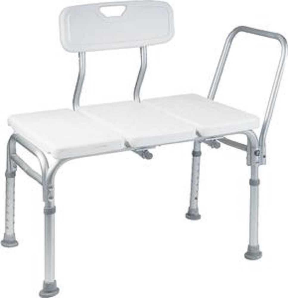 Heavy duty wheelchair to bath tub shower transfer bench transfer seat hand rail ebay Transfer bath bench