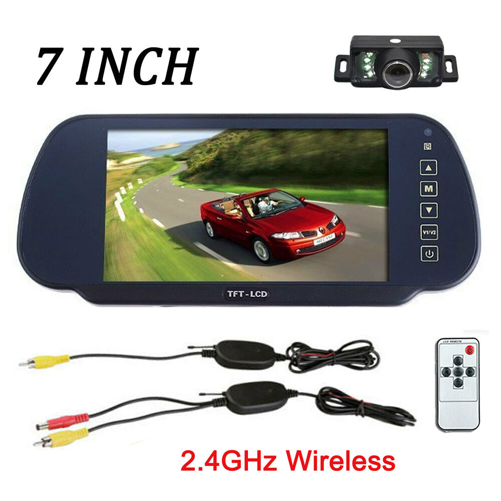 wireless car reverse rear view backup camera 7 inch tft lcd mirror monitor kit ebay. Black Bedroom Furniture Sets. Home Design Ideas