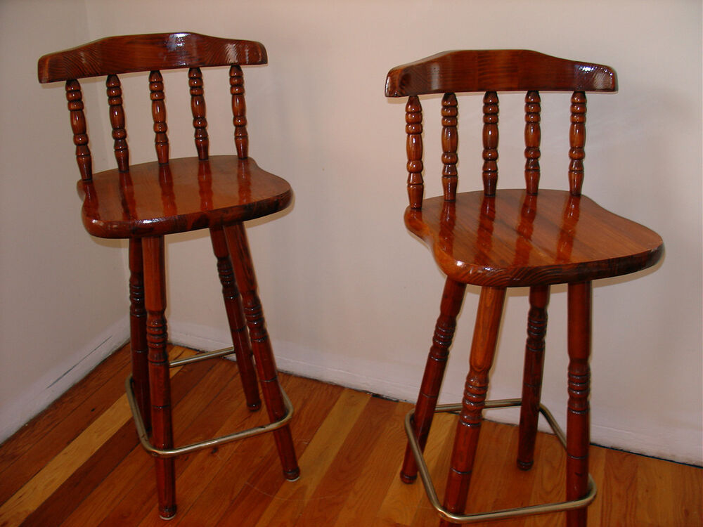 Solid wood swivel pub bar stool chair set of 2 two dining for Kitchen swivel bar stools
