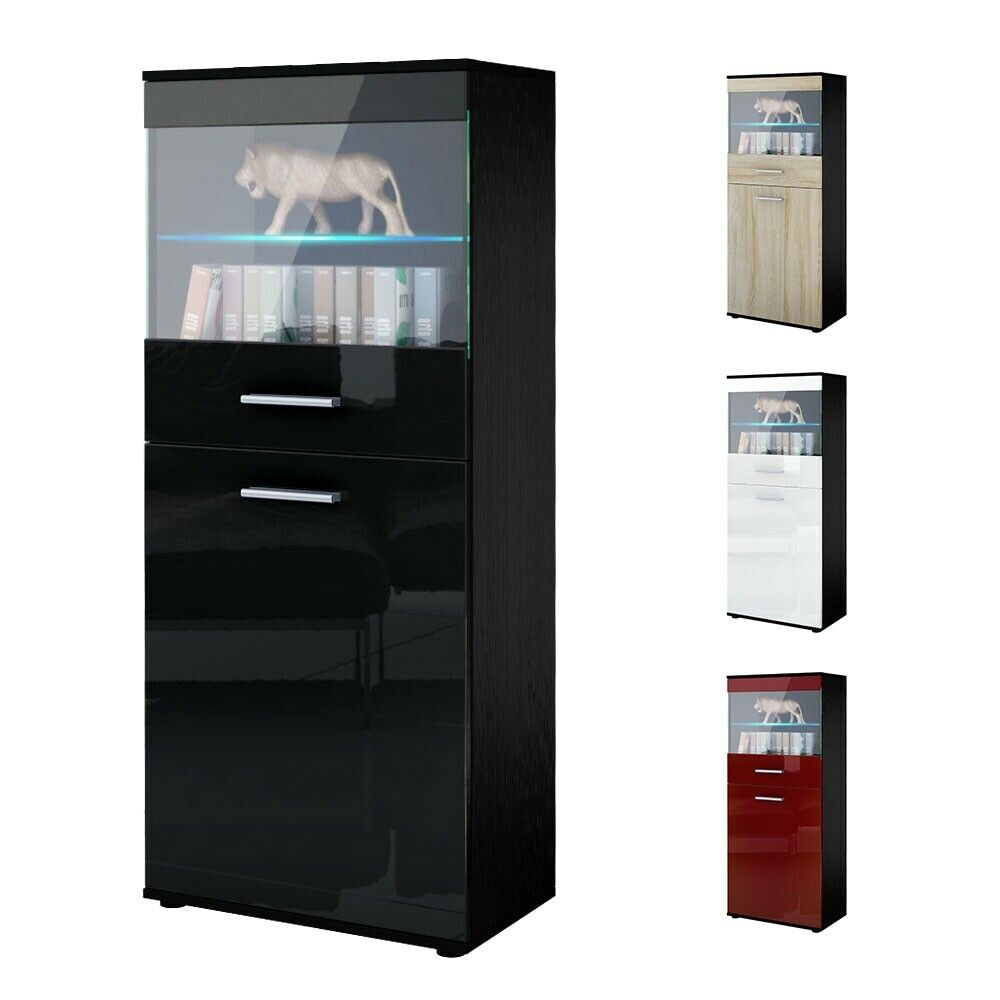 Tall Display Cabinet Glass Unit Led Almada Black High
