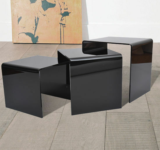 3pc Acrylic Perspex Nesting Nest End Tables Coffee Table Display Steps Black New Ebay