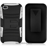 APPLE IPHONE 4 4S CASE & CLIP HOLSTER KICKSTAND COMBO WHITE BLACK 3 IN 1 NEW