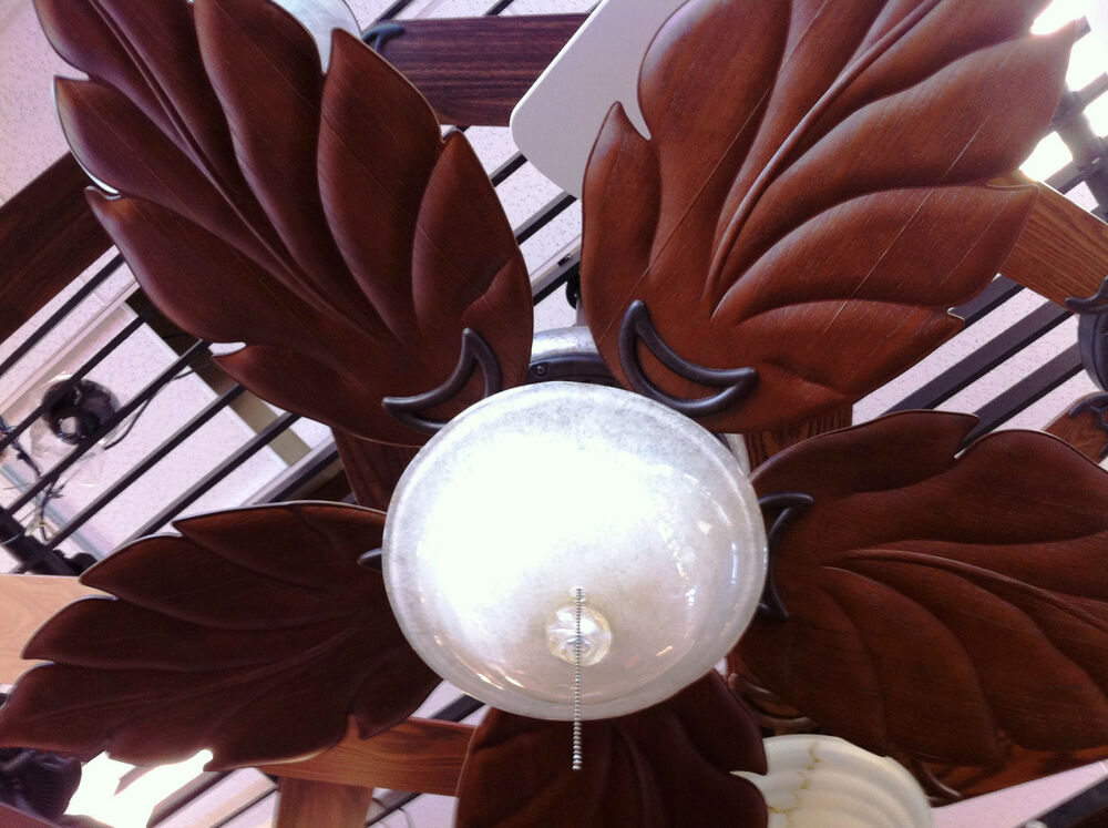 Carved Wood Leaf Blade Bahama Tropical Style Ceiling Fan