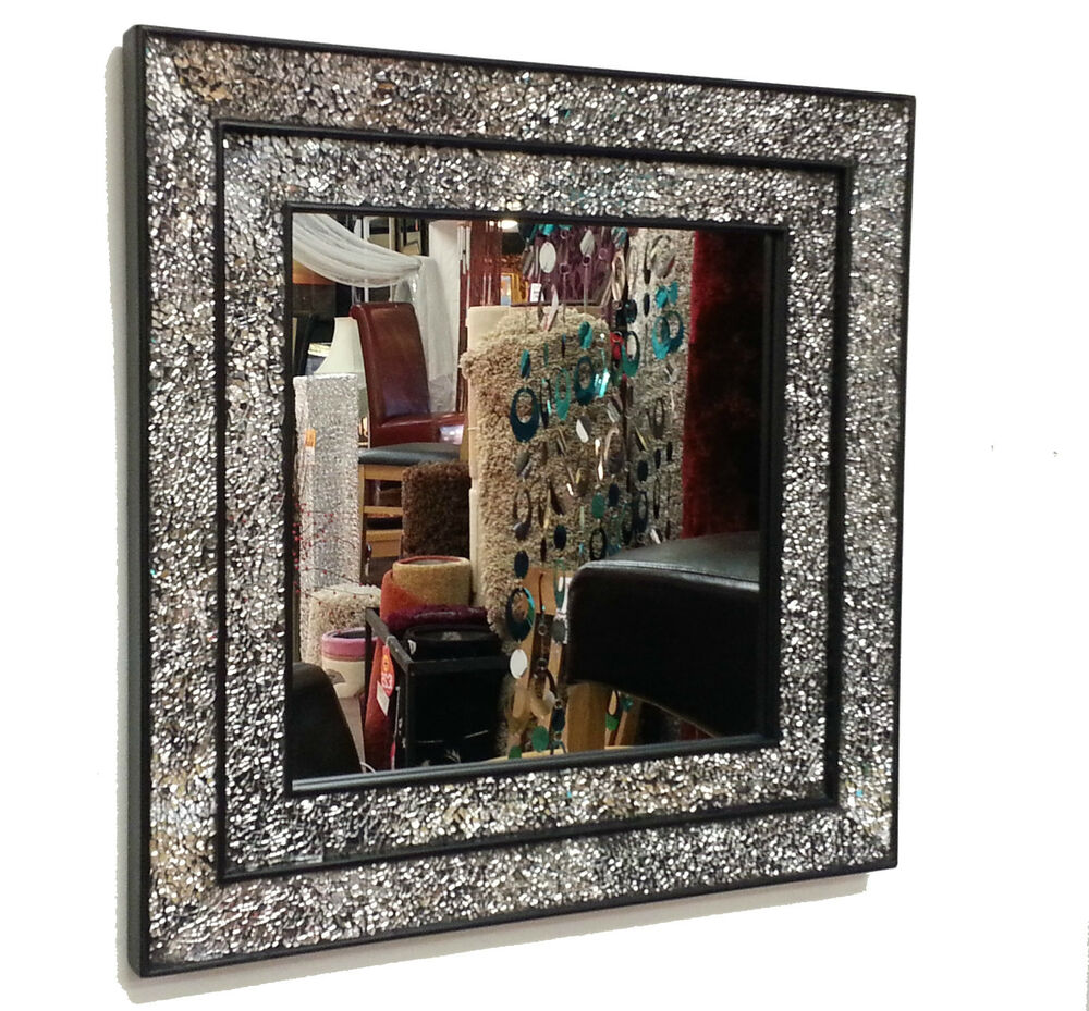 Crackle glass mosaic wall mirror square black double frame for Window wall mirror