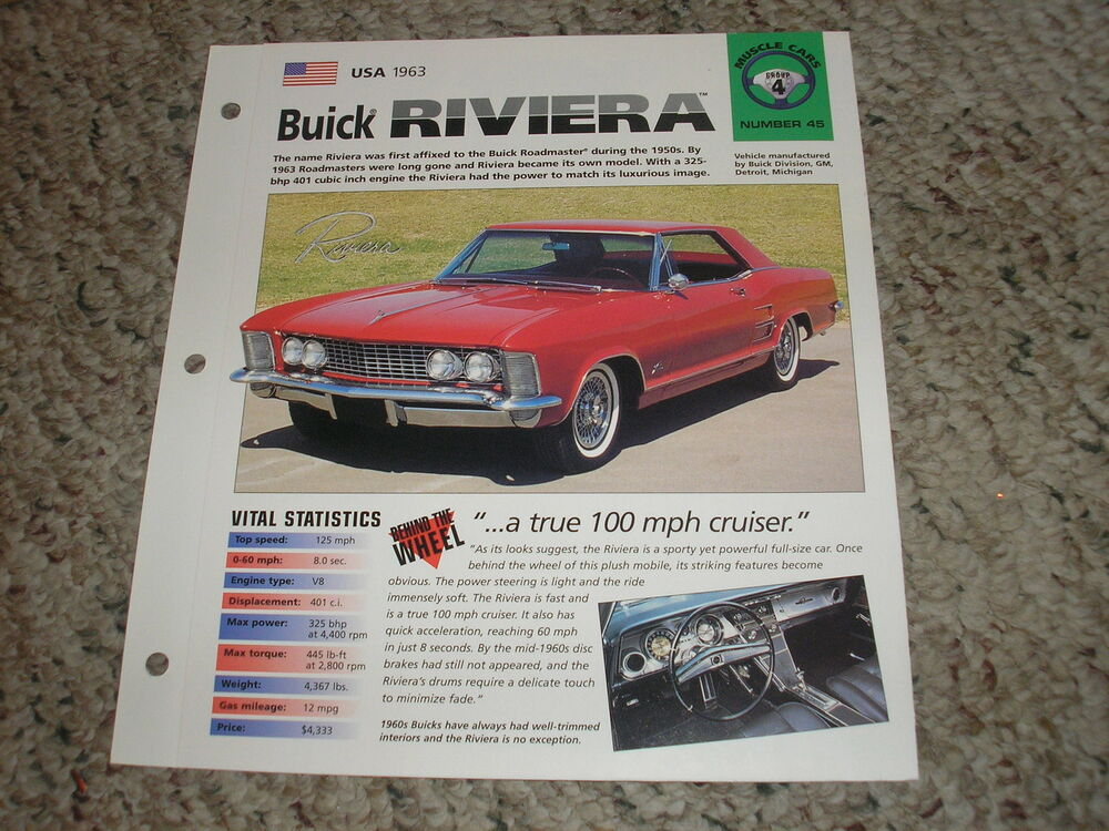 usa 1963 buick riviera hot cars muscle cars group 4 # 45 spec sheet