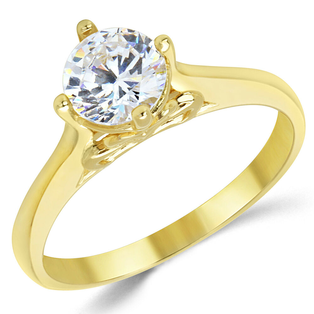14K Solid Yellow Gold CZ Cubic Zirconia Solitaire ...