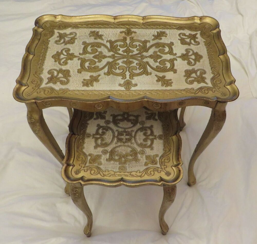 Gold Nesting Tables ~ Vintage gold tole nesting tables set of hollywood