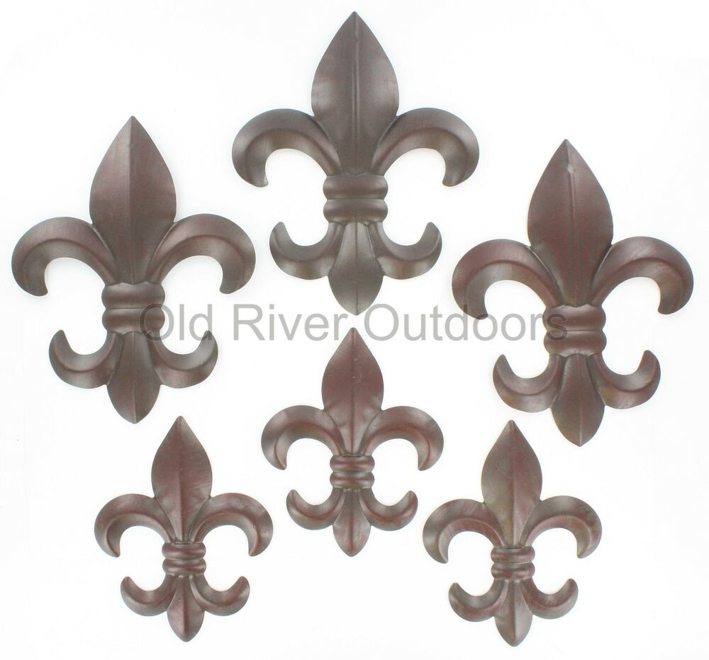 6 pc set metal fleur de lis wall plaques 6 8 rustic creole saints decor ebay. Black Bedroom Furniture Sets. Home Design Ideas