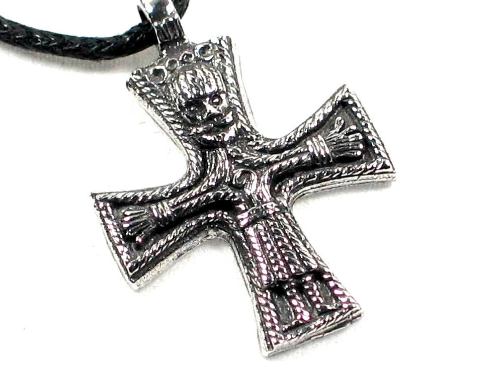hand made viking cross crucifix pewter pendant celtic