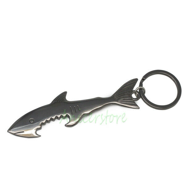 cool shark shape metal beer bottle opener keychain cap opener tool black ebay. Black Bedroom Furniture Sets. Home Design Ideas