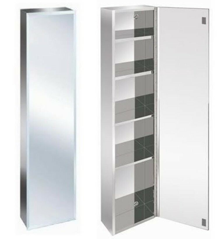 New luxury stainless steel bevelled edge reversible tall bathroom mirror cabinet ebay for Tall stainless steel bathroom cabinet