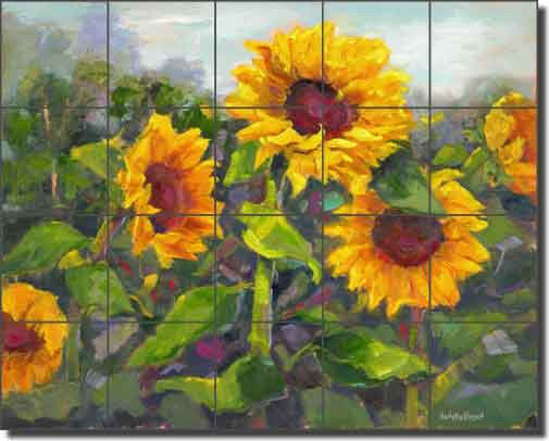 Ceramic tile mural backsplash oleson sunflower floral art for Artwork on tile ceramic mural