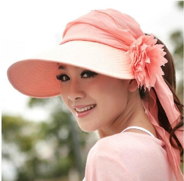 women 39 s ladies girls wide brim flower hat summer beach sun visor cap hats ebay. Black Bedroom Furniture Sets. Home Design Ideas